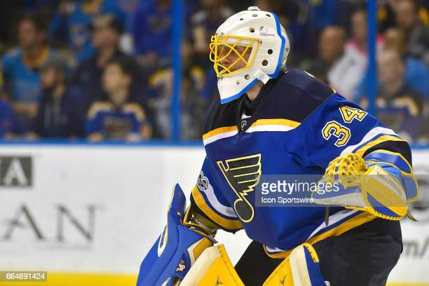 St Louis Blues goalie Jake Allen during an NHL game between the Winnipeg Jets and the St Louis Blues on April 04 at the Scottrade Center in St Louis...