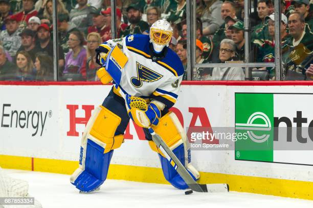 St Louis Blues goalie Jake Allen plays the puck in the 1st period during Game 1 of the Western Conference Quarterfinals between the St Louis Blues...