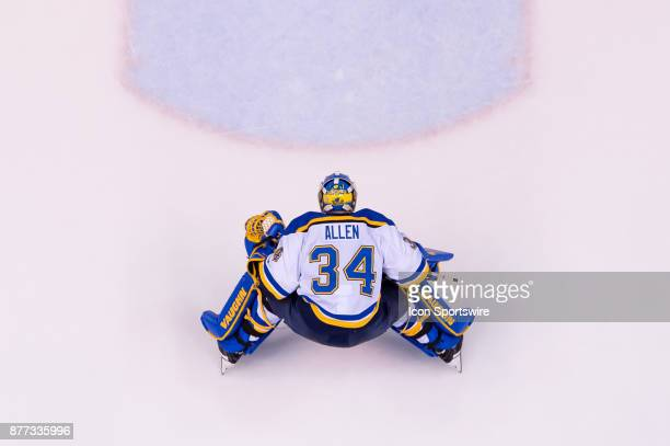 St Louis Blues Goalie Jake Allen skates to his net during their NHL game against the Vancouver Canucks at Rogers Arena on November 18 2017 in...
