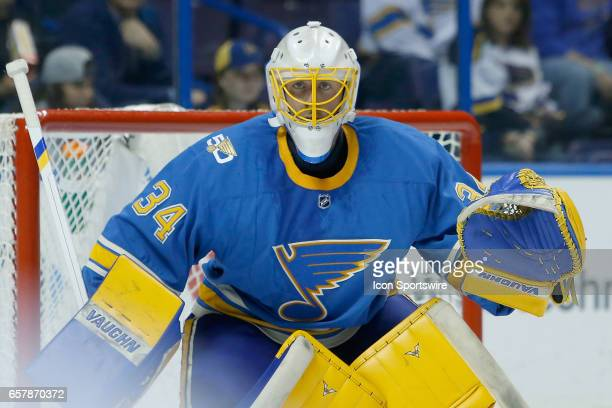 St Louis Blues goalie Jake Allen watches the action during the second period of an NHL hockey game between the Calgary Flames and the St Louis Blues...