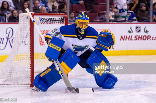 St Louis Blues Goalie Jake Allen watches the play during their NHL game against the Vancouver Canucks at Rogers Arena on November 18 2017 in...