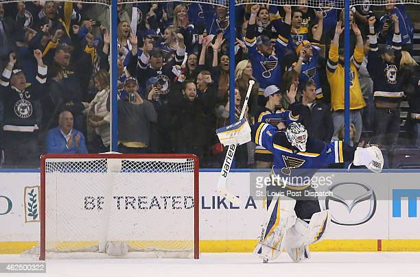 St Louis Blues goaltender Brian Elliott reacts after making a save to seal a 54 shootout win against the Nashville Predators on Thursday Jan 29 at...