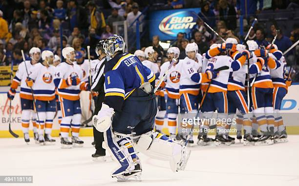 St Louis Blues goaltender Brian Elliott skates off the ice after allowing the gamewinning goal in overtime to the New York Islanders' Mikhail...