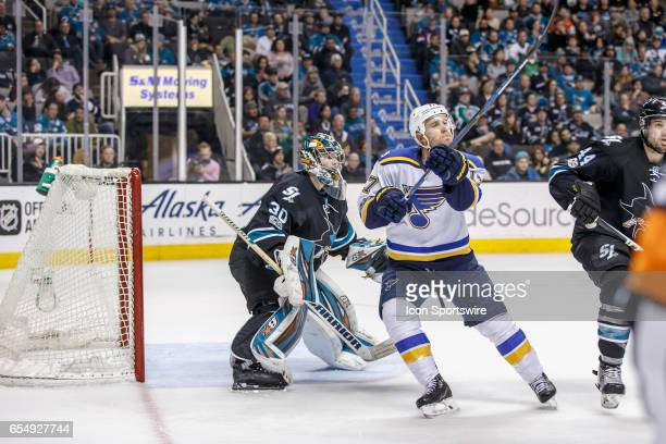 St Louis Blues left wing Jaden Schwartz looks for a pass in front of the Shark's net during the second period of the regular season game between the...