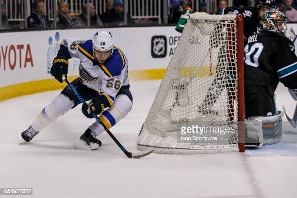 St Louis Blues left wing Magnus Paajarvi sweeps behind the Shark's net during the second period of the regular season game between the San Jose...