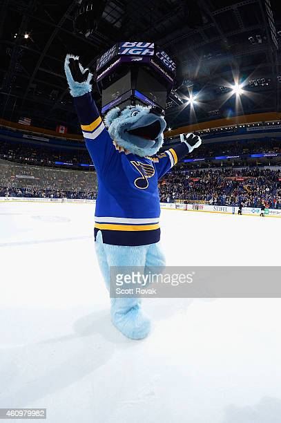 St Louis Blues mascot Louie acknowledges the fans after a game against the Colorado Avalanche on December 29 2014 at Scottrade Center in St Louis...