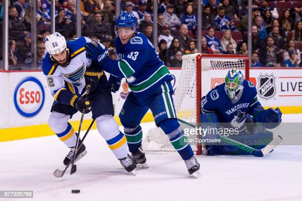 St Louis Blues Right Wing Chris Thorburn and Center Bo Horvat battle for the puck in front of Vancouver Canucks Goalie Anders Nilsson during their...