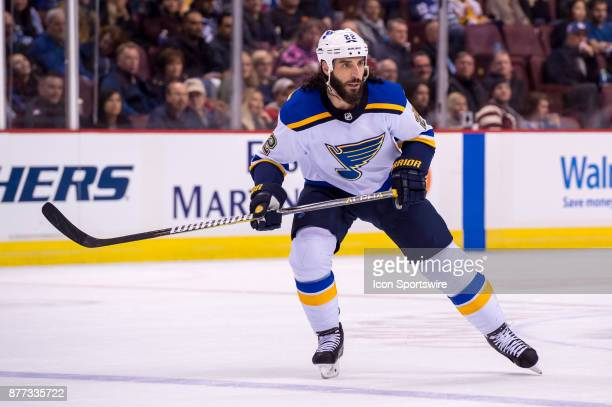 St Louis Blues Right Wing Chris Thorburn skates up ice during their NHL game against the Vancouver Canucks at Rogers Arena on November 18 2017 in...