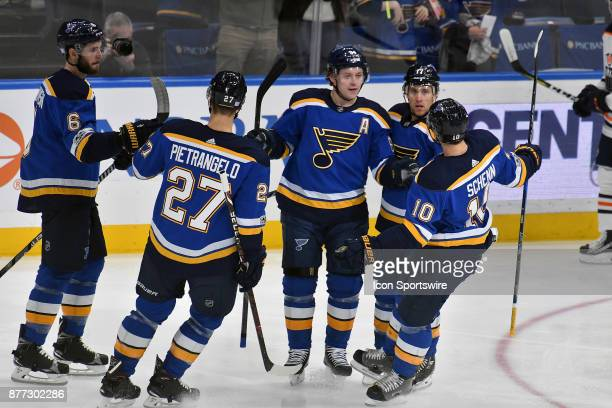 St Louis Blues right wing Vladimir Tarasenko after a goal in the first period Blues teammates congratulate during a NHL hockey game between the...