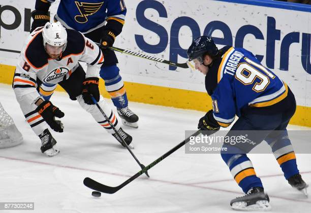 St Louis Blues right wing Vladimir Tarasenko sets up a shot in the first period during a NHL hockey game between the Edmonton Oilers and the St Louis...
