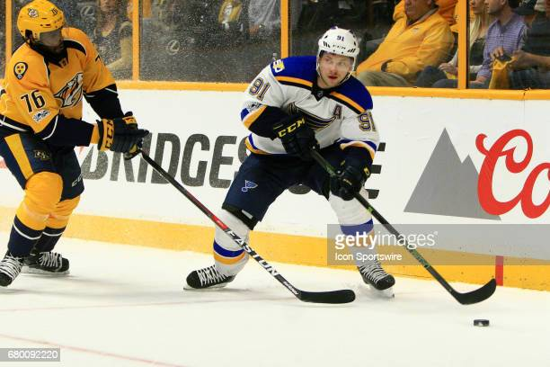 St Louis Blues right wing Vladimir Tarasenko shields the puck from Nashville Predators defenseman PK Subban during Game Six of Round Two of the...