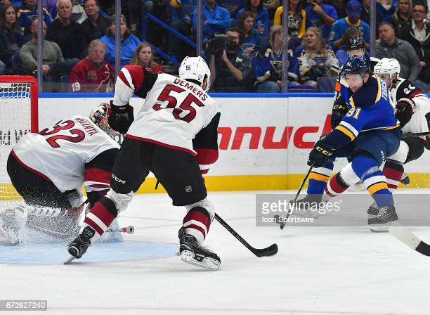 St Louis Blues right wing Vladimir Tarasenko takes a shot on goal in the third period during a National Hockey League game between the Arizona...