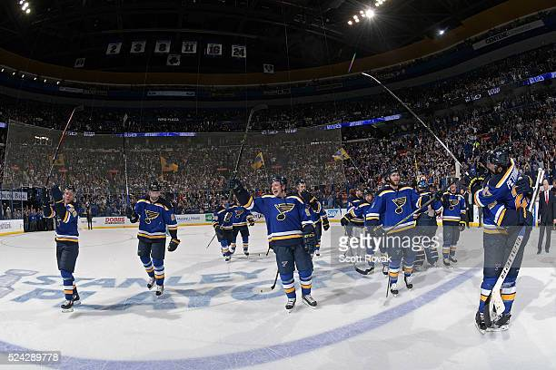 St Louis Blues salute their fans after defeating the Chicago Blackhawks 32 in Game Seven of the Western Conference First Round during the 2016 NHL...