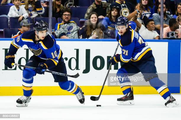 St Louis Blues' Vladimir Sobotka right receives a pass from St Louis Blues' Brayden Schenn left during the third period of an NHL hockey preseason...