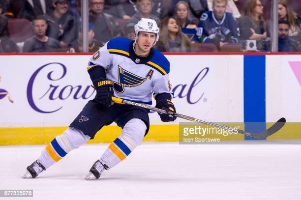 St Louis Blues Winger Alexander Steen during their NHL game against the Vancouver Canucks at Rogers Arena on November 18 2017 in Vancouver British...