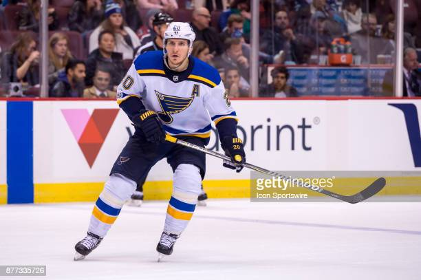 St Louis Blues Winger Alexander Steen skates up ice during their NHL game against the Vancouver Canucks at Rogers Arena on November 18 2017 in...