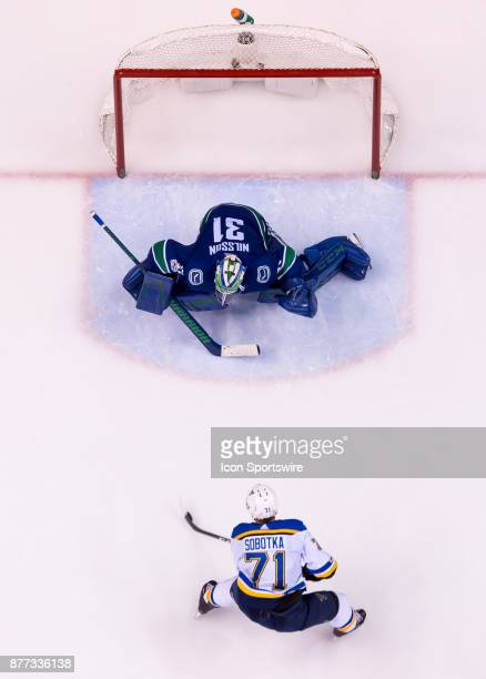 St Louis Blues Winger Vladimir Sobotka has a break away on Vancouver Canucks Goalie Anders Nilsson during their NHL game at Rogers Arena on November...