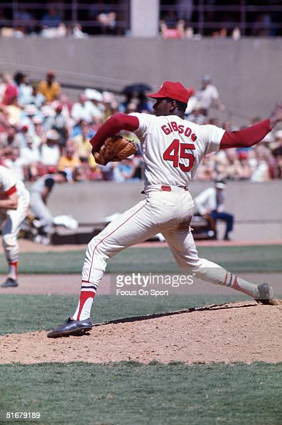 St Louis Cardinals' Bob Gibson pitches against the Detroit Tigers during the 1968 World Series at Busch Stadium in St Louis Missouri