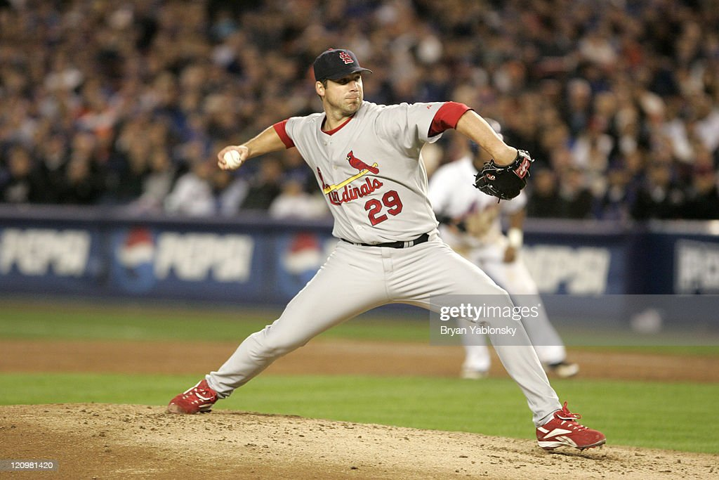 St. Louis Cardinals <a gi-track='captionPersonalityLinkClicked' href=/galleries/search?phrase=Chris+Carpenter+-+Baseball+Player&family=editorial&specificpeople=208139 ng-click='$event.stopPropagation()'>Chris Carpenter</a> pitching during MLB game 2 of the National League Championship Series against the New York Mets played at Shea Stadium in Flushing, N.Y. Cardinals defeated the Mets 9 - 6 on October 13, 2006.