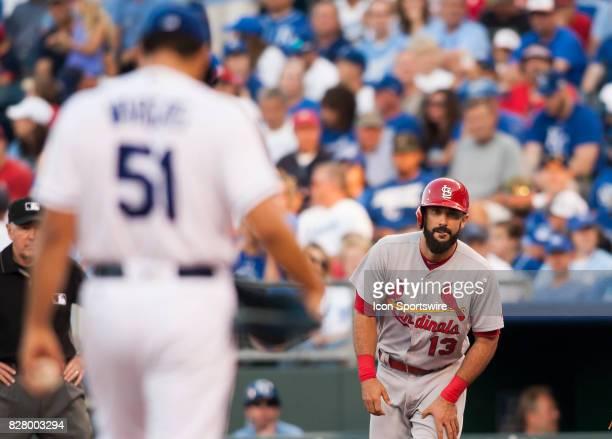 St Louis Cardinals First base Matt Carpenter eyes Kansas City Royals Starting pitcher Jason Vargas while taking a lead off during the MLB regular...