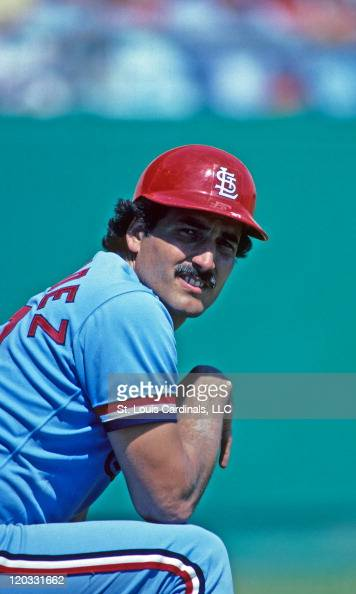 St Louis Cardinals first baseman Keith Hernandez looks on during a spring training game circa 1982 against the Philadelphia Phillies at Jack Russell...