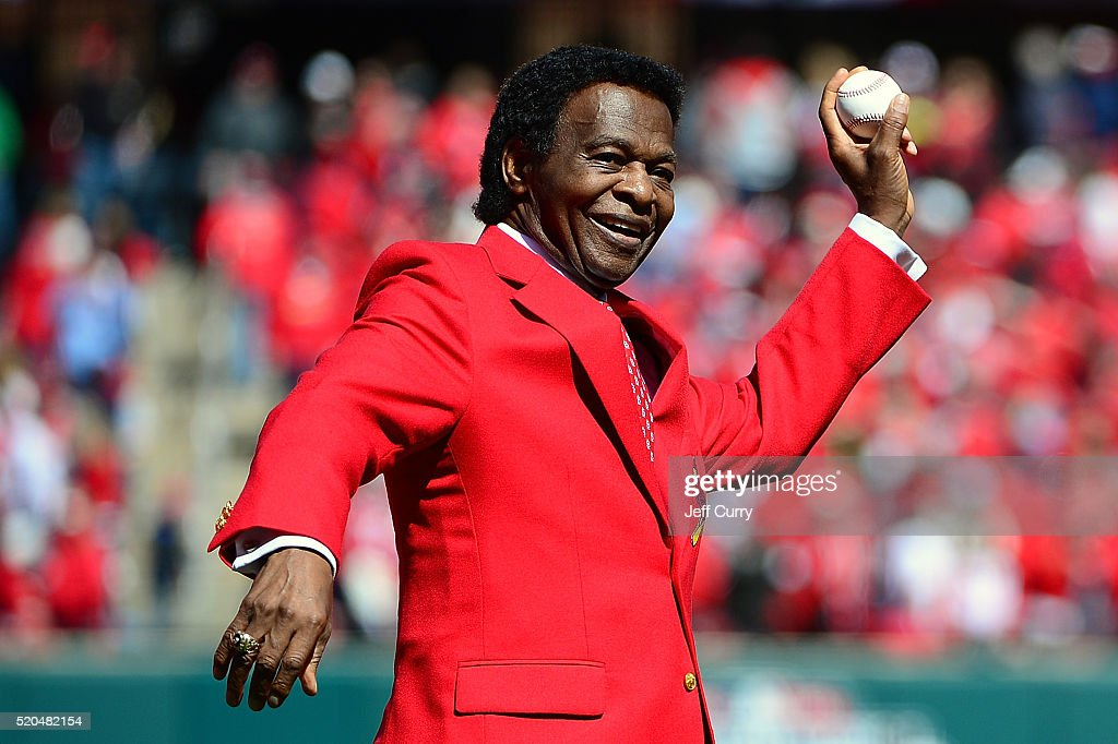 St. Louis Cardinals hall of famer <a gi-track='captionPersonalityLinkClicked' href=/galleries/search?phrase=Lou+Brock&family=editorial&specificpeople=207012 ng-click='$event.stopPropagation()'>Lou Brock</a> throws out a first pitch before the Cardinals home opener against the Milwaukee Brewers at Busch Stadium on April 11, 2016 in St. Louis, Missouri.