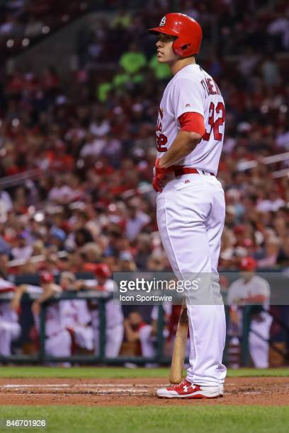 St Louis Cardinals' Jack Flaherty stands in the batter's box during the second inning of a baseball game against the Cincinnati Reds September 13 at...