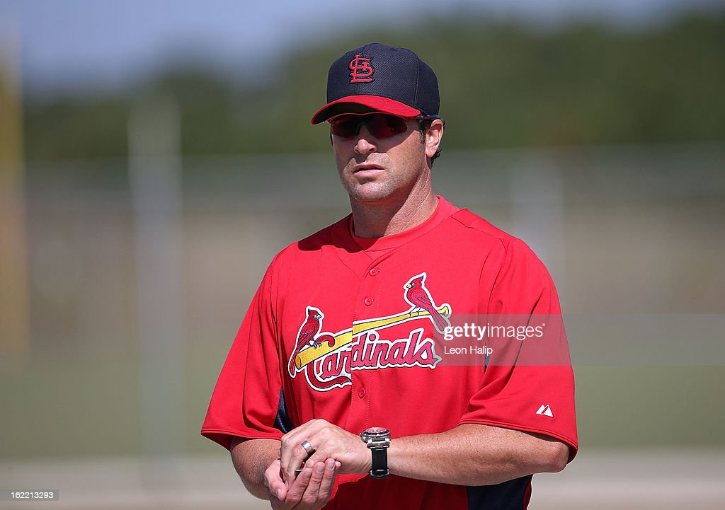 St. Louis Cardinals manager Mike Matheny #22 watches the action during spring training on February 20, 2013 in Jupiter, Florida.