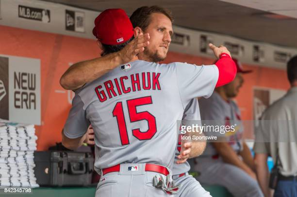 St Louis Cardinals Outfield Randal Grichuk gives St Louis Cardinals Outfield Stephen Piscotty a hug before the the San Francisco Giants versus St...