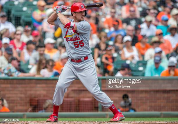 St Louis Cardinals Outfield Stephen Piscotty at bat at the San Francisco Giants versus St Louis Cardinals game on September 3 2017 at ATT Park in San...