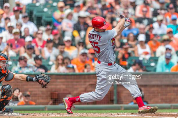 St Louis Cardinals Outfield Stephen Piscotty strikes out during a regular season game at the San Francisco Giants versus St Louis Cardinals game on...