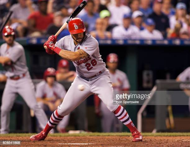 St Louis Cardinals Outfield Tommy Pham eyes a pitch for a strike during the MLB regular season game between the St Louis Cardinals and the Kansas...