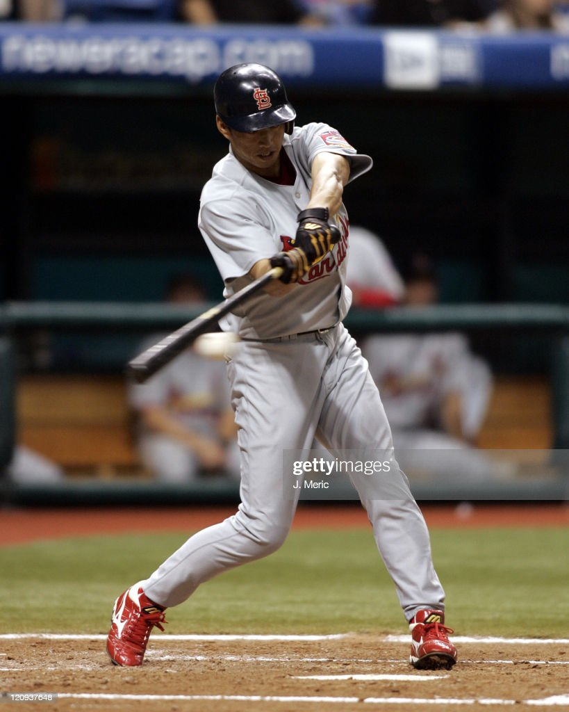 St. Louis Cardinals outfielder <a gi-track='captionPersonalityLinkClicked' href=/galleries/search?phrase=So+Taguchi&family=editorial&specificpeople=183399 ng-click='$event.stopPropagation()'>So Taguchi</a> gets a hit in Friday night's game against the Tampa Bay Devil Rays at Tropicana Field in St. Petersburg, Florida on June 17, 2005.