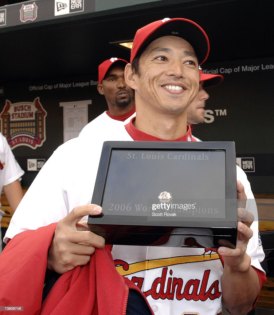 St. Louis Cardinals outfielder <a gi-track='captionPersonalityLinkClicked' href=/galleries/search?phrase=So+Taguchi&family=editorial&specificpeople=183399 ng-click='$event.stopPropagation()'>So Taguchi</a> #99 smiles after receiving his World Series ring during a Ceremony before the game against the New York Mets at Busch Stadium on April 3, 2007 in St. Louis, Missouri.