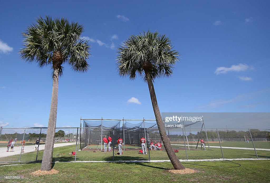 St. Louis Cardinals players go through the morning workout during spring training on February 20, 2013 in Jupiter, Florida.