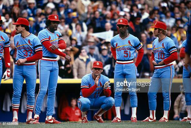 St Louis Cardinals players Keith Hernandez George Hendrick Darrell Porter Willie McGee and Ken Oberkfell are introduced before a World Series game...