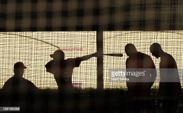 St Louis Cardinals players take batting practice at Roger Dean Stadium on February 16 2011 in Jupiter Florida