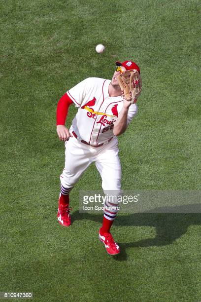 St Louis Cardinals right fielder Stephen Piscotty catch a fly ball for the out against the New York Mets during a MLB baseball game between the St...