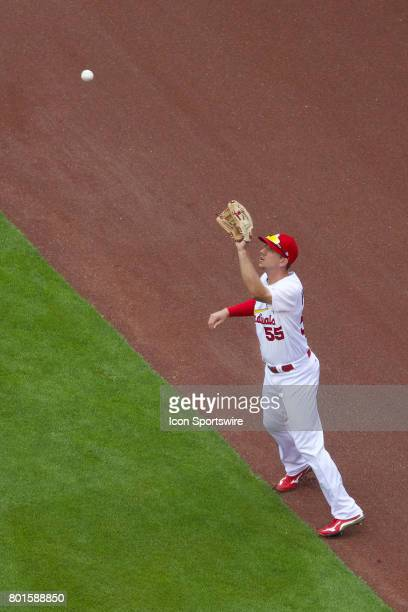 St Louis Cardinals right fielder Stephen Piscotty makes the catch for the out against the Cincinnati Reds during a MLB baseball game between the St...