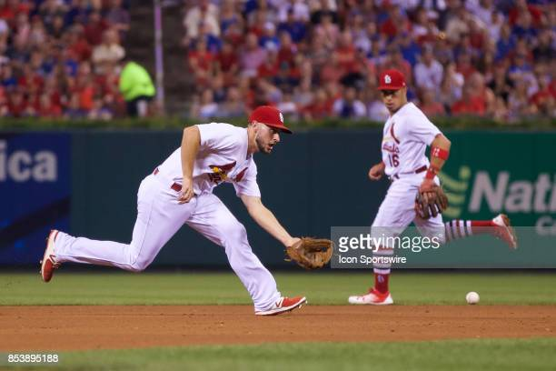 St Louis Cardinals shortstop Paul DeJong fields the ball against the Chicago Cubs during a MLB baseball game between the St Louis Cardinals and the...