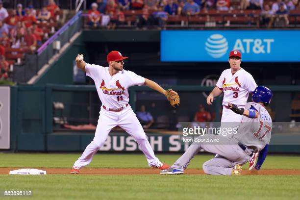 St Louis Cardinals shortstop Paul DeJong turns the double play against the Chicago Cubs during a MLB baseball game between the St Louis Cardinals and...