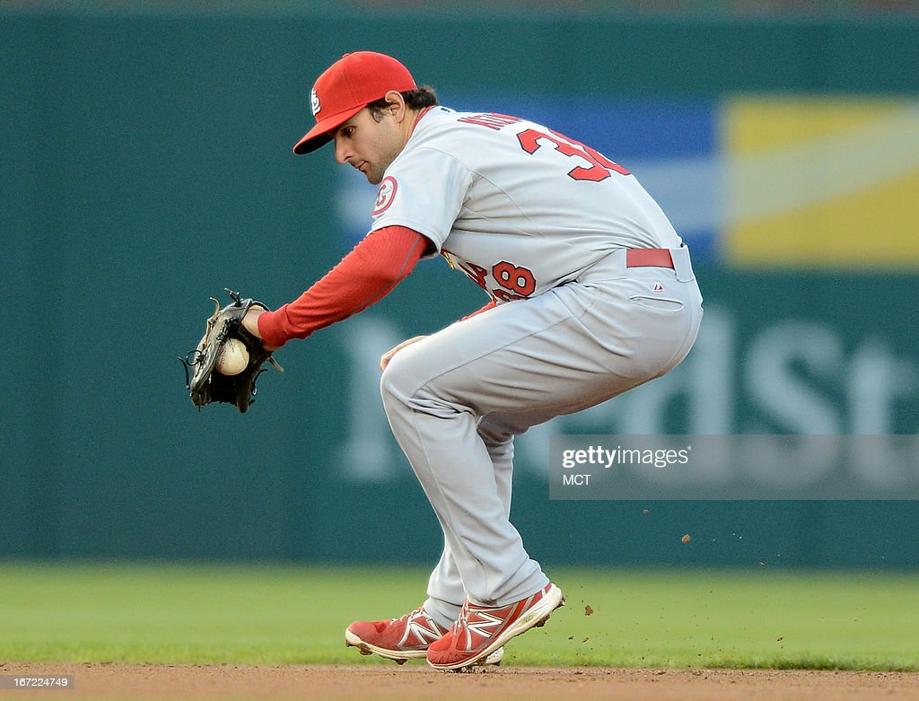 St. Louis Cardinals shortstop Pete Kozma (38) back hands a ball hit by Washington Nationals left fielder Bryce Harper, before throwing out Harper at first base in the first inning at Nationals Park in Washington, D.C., Monday, April 22, 2013.