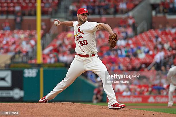 St Louis Cardinals starting pitcher Adam Wainwright delivers a pitch against the Milwaukee Brewers at Bush Stadium