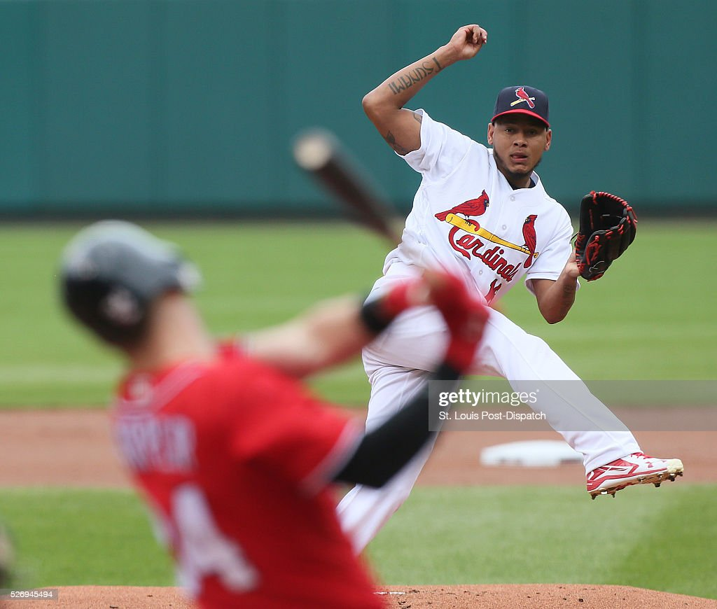 St. Louis Cardinals starting pitcher Carlos Martinez pitches on Sunday, May 1, 2016, at Busch Stadium in St. Louis.