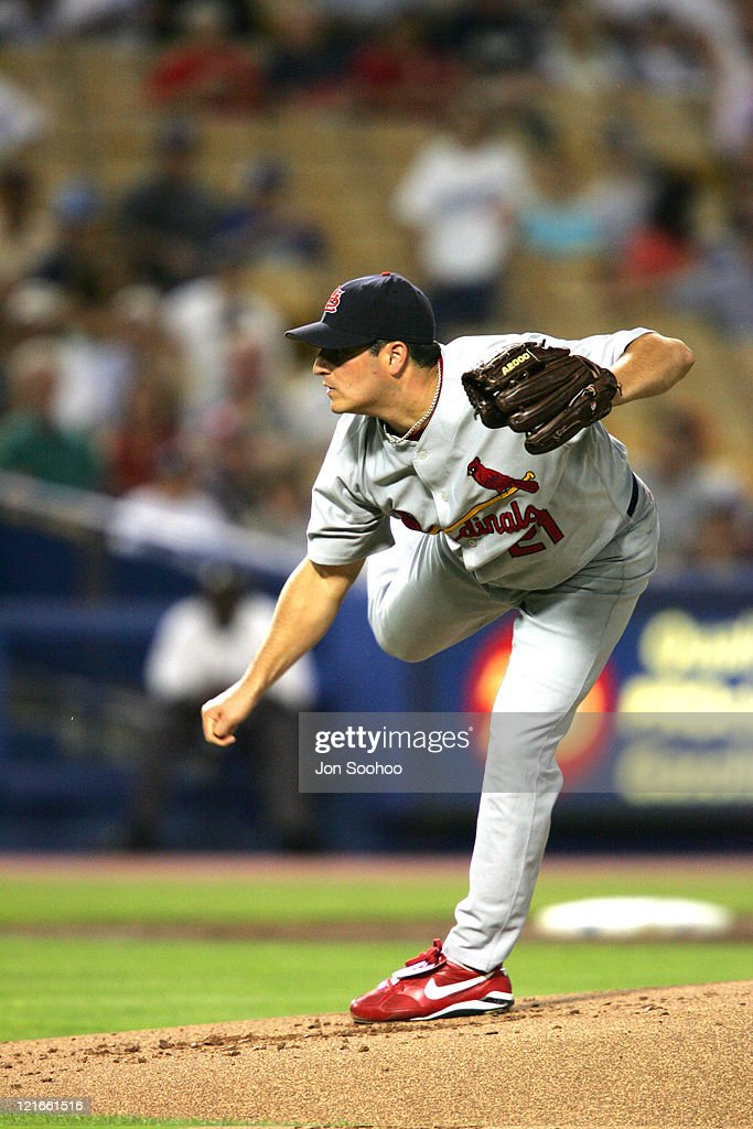 St. Louis Cardinals starting pitcher <a gi-track='captionPersonalityLinkClicked' href=/galleries/search?phrase=Jason+Marquis&family=editorial&specificpeople=210770 ng-click='$event.stopPropagation()'>Jason Marquis</a> vs Los Angeles Dodgers <a gi-track='captionPersonalityLinkClicked' href=/galleries/search?phrase=Cesar+Izturis&family=editorial&specificpeople=203148 ng-click='$event.stopPropagation()'>Cesar Izturis</a> in the first inning Friday, September 10, 2004. The Dodgers beat the Cardinals, 7-6.