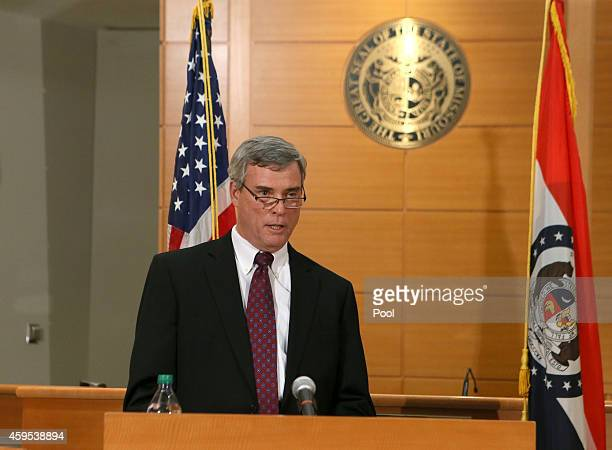 St Louis County Prosecutor Robert McCulloch announces the grand jury's decision not to indict Ferguson police officer Darren Wilson in the shooting...