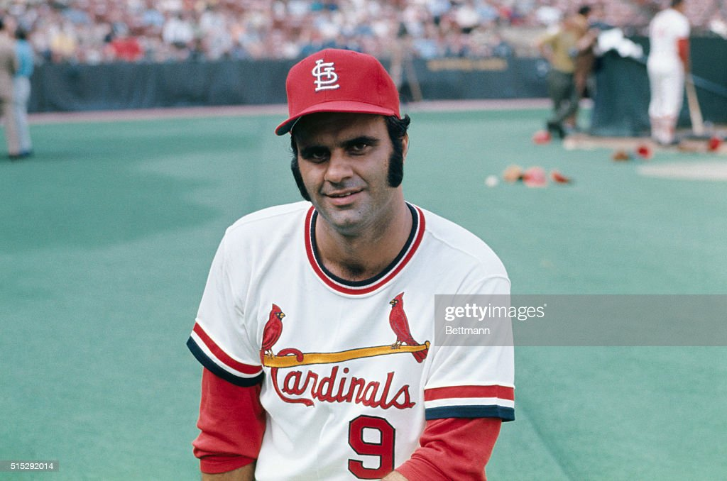 Head and shoulders portrait of Joe Torre of the St. Louis Cardinals, wearing his uniform.