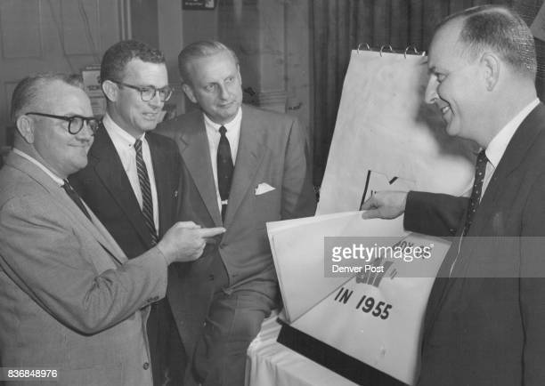 St Louis officials from Monsanto Chemical Co outline the 1955 advertising campaign for leading Denver grocers and buyers at a sales meeting in the...