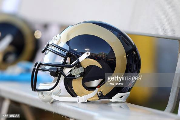 St Louis Rams helmet sits on the bench during their game against the Oakland Raiders at Oco Coliseum on August 14 2015 in Oakland California