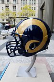 St Louis Rams NFL football helmet is on display in Pioneer Court to commemorate the NFL Draft 2015 in Chicago on April 30 2015 in Chicago Illinois